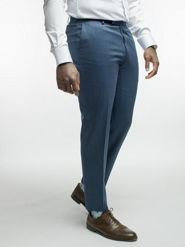 TROUSERS Blue Denim-like Wool Trousers