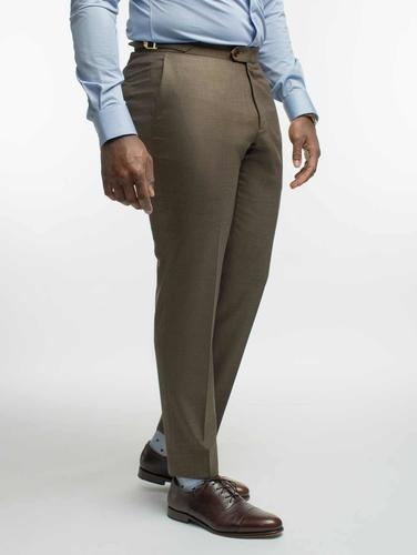 TROUSERS Tobacco Brown Sharkskin Wool Trousers
