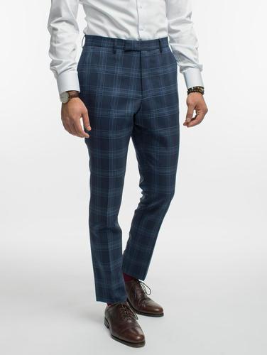 Pantalon Pantalon bleu à carreaux en laine