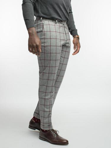 Pantalon Pantalon gris pâle en flannelle de laine à carreaux bourgogne