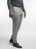 Trousers Light Grey With Burgundy Windowpane Wool Trousers