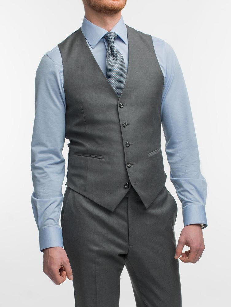 Waistcoat Charcoal Plain Wool Waistcoat