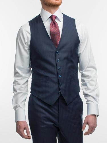 Waistcoat Navy Shadow Pinstripe Wool Waistcoat