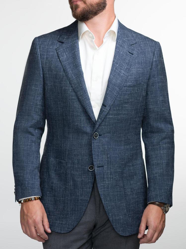 Jacket Dark Blue Wool-Linen-Silk Blend Sports Jacket