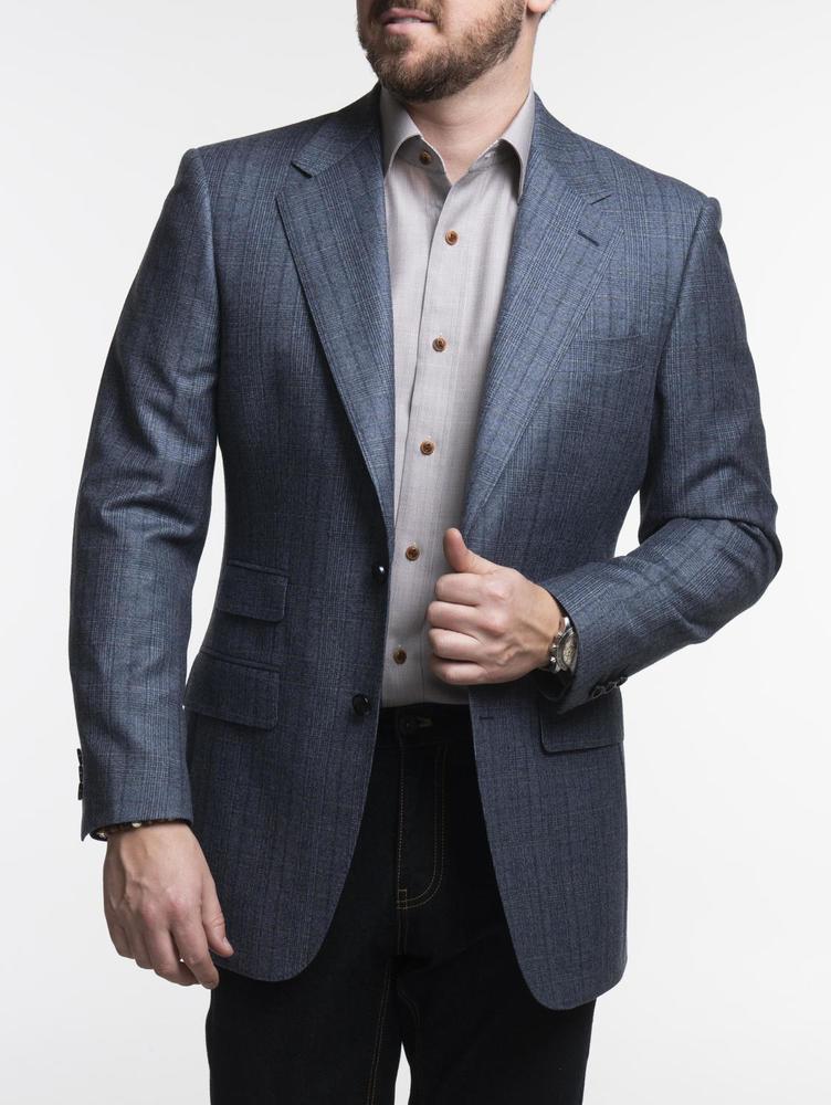 JACKET Blue Glen Plaid Wool Sports Jacket