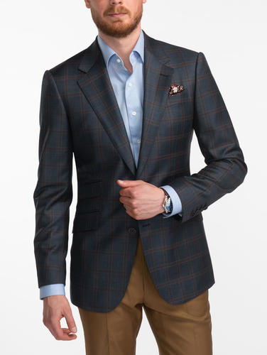 Jacket Anthracite Grey Windowpane Worsted Wool Jacket