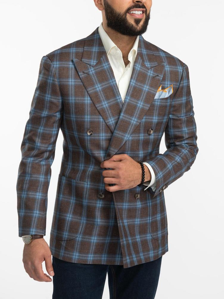 Jacket  Light blue Windowpane Double-Breasted Brown Jacket