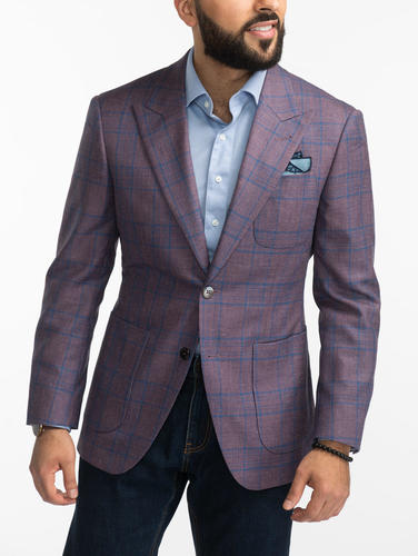 Jacket Light Purple Glen Plaid Wool/Silk/Linen Blend Jacket