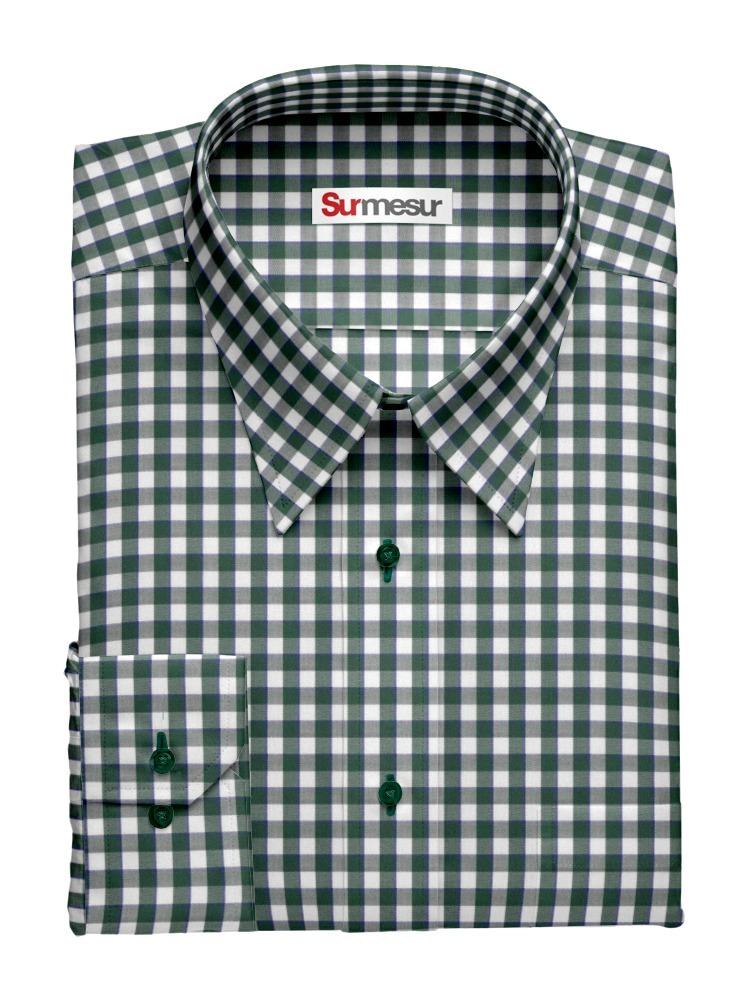 Chemise habillée Gingham vert