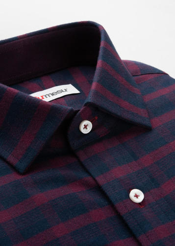 Sport shirt Navy & Burgundy Plaid Sport Shirt