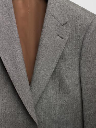 Jacket Light Grey Herringbone Wool Sports Jacket