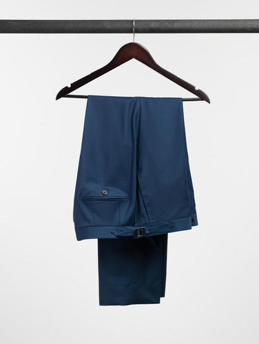 Trousers Oil Blue Plain Wool Trousers