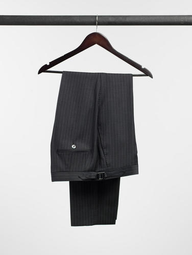 Trousers Charcoal and Lavender Pinstripe Wool Trousers