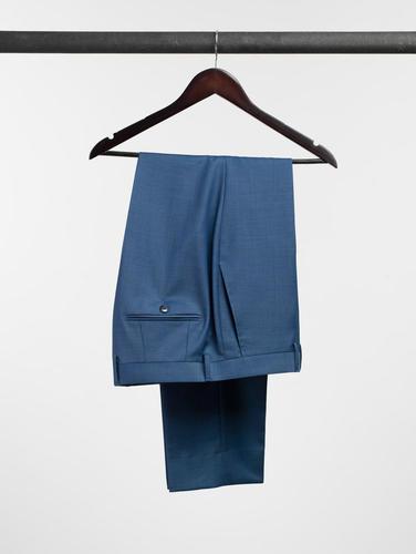 TROUSERS Crystal Blue Sharkskin Wool Trousers