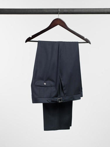 Trousers Navy Houndstooth Wool Trousers