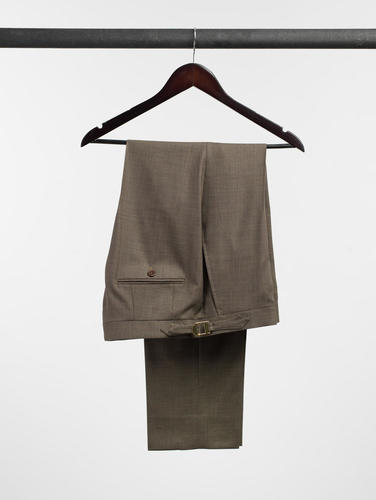Trousers Tobacco Brown Sharkskin Wool Trousers