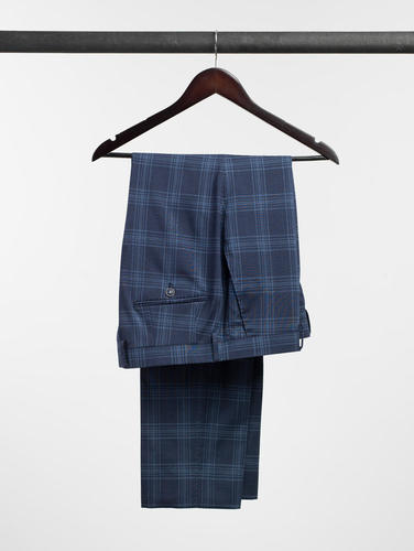 TROUSERS Blue Plaid Wool Trousers