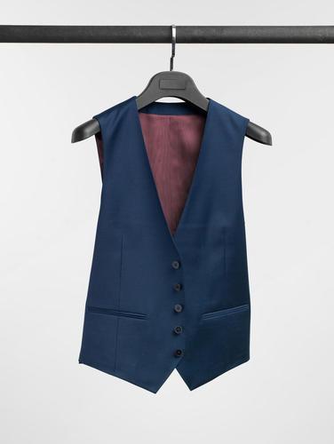 Waistcoat Oil Blue Plain Wool Waistcoat