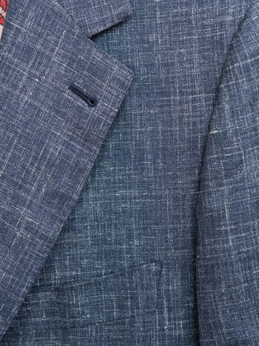 Jacket Dark Blue Wool-Linen-Silk Blend Sports Jacket
