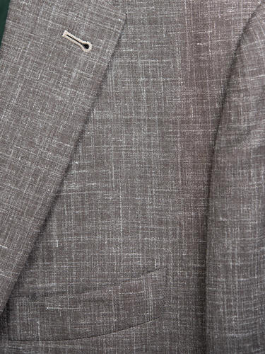 Jacket Taupe Wool-Linen-Silk Blend Sports Jacket