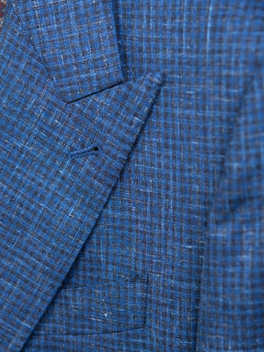 Jacket Blue Checks Wool-Linen-Silk Blend Sports Jacket