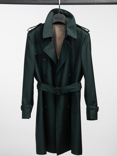 Trench Coat Dark Green Wool Trench Coat