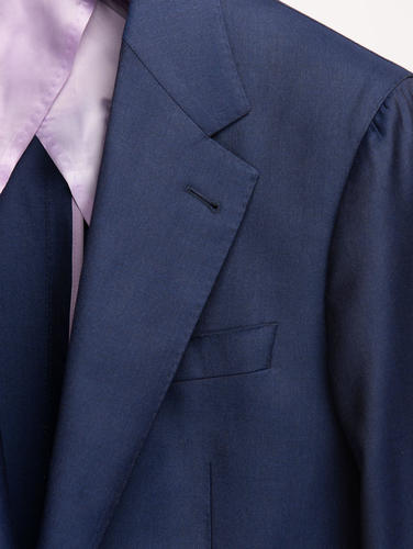 Suit Blueberry Blue Plain Worsted Wool Suit