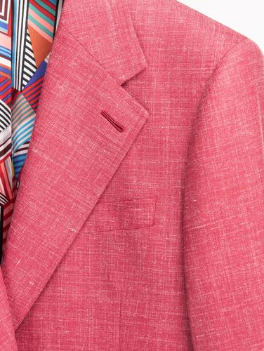 Jacket Strawberry Red Plain Wool/Silk/Linen Blend Jacket