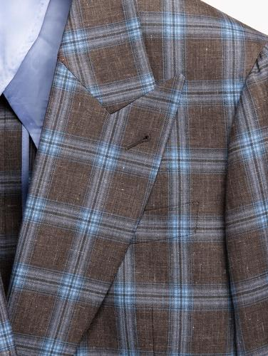 Jacket  Light blue Windowpane Double-Breasted Brown Jacket