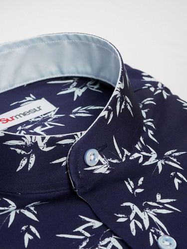 Sport shirt Navy Print Sport Shirt w/ Short Sleeves