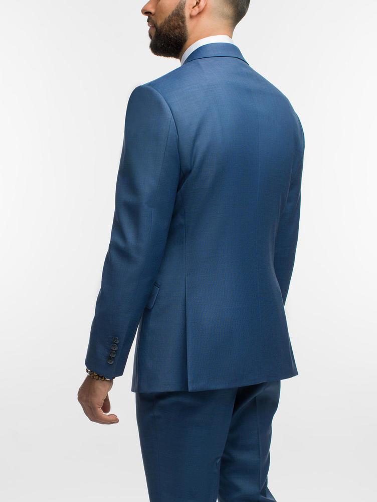 SUIT Crystal Blue Sharkskin Wool Suit