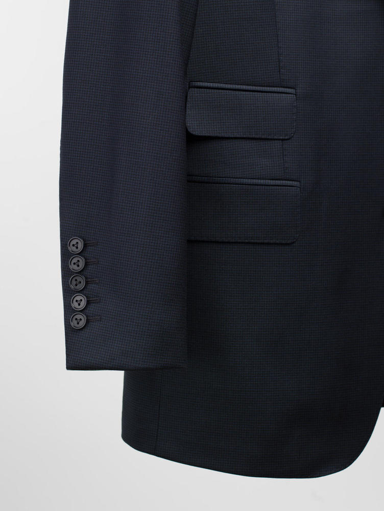 Suit Navy Houndstooth Wool Suit
