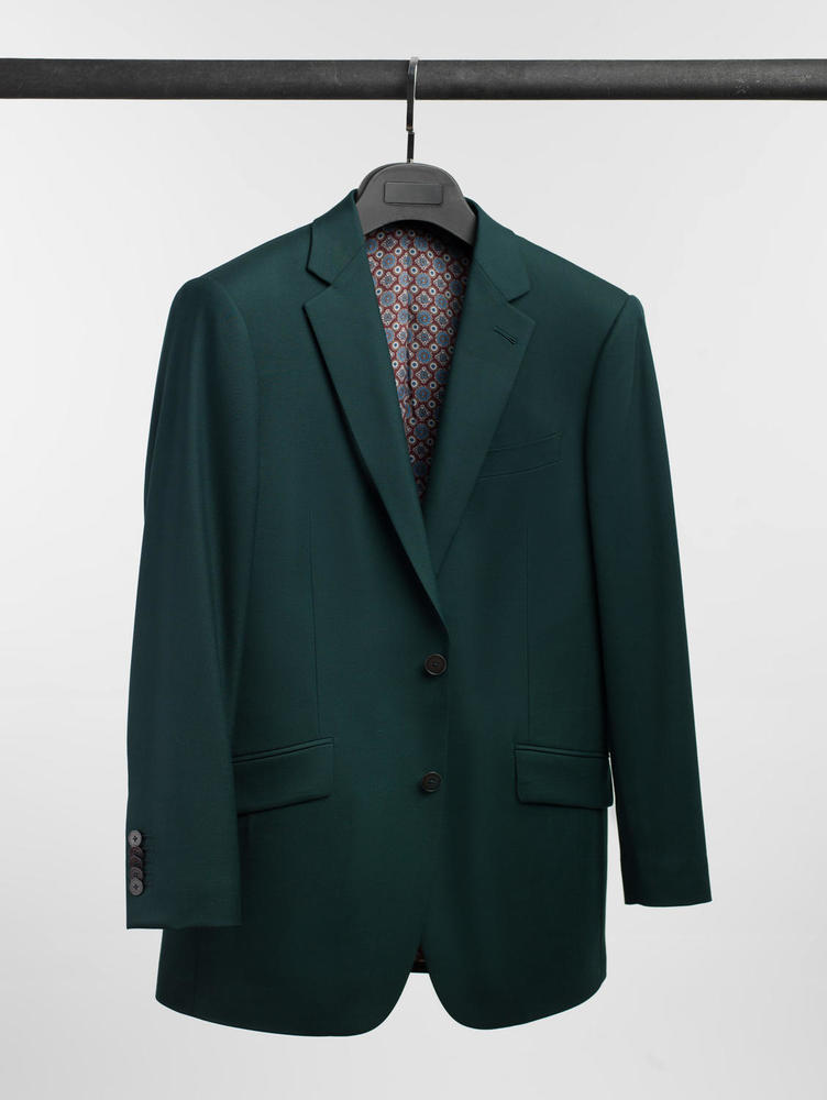 Suit Emerald Green Plain Wool Suit