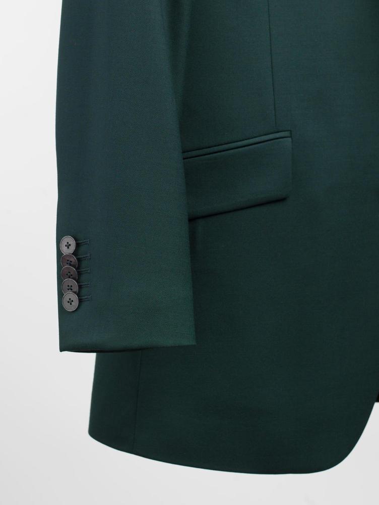 Suit Emerald Green Plain Wool Suit