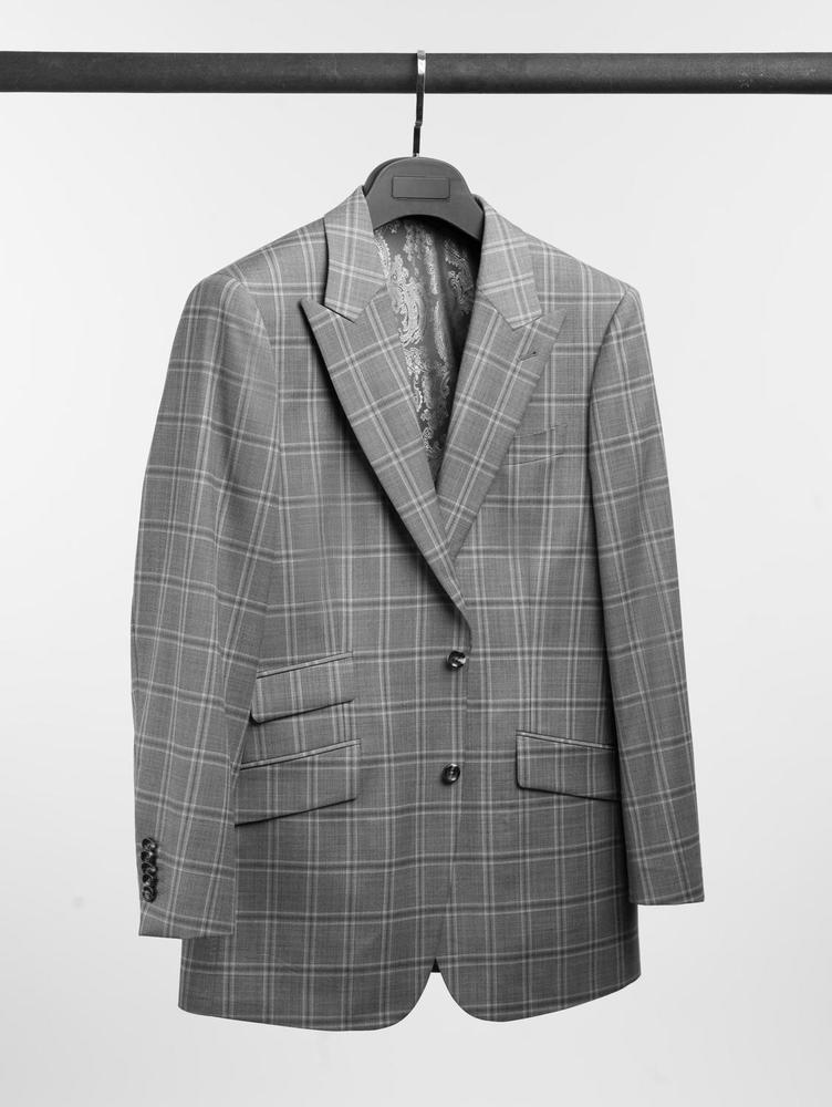 Complet Complet carrelé gris pâle en laine