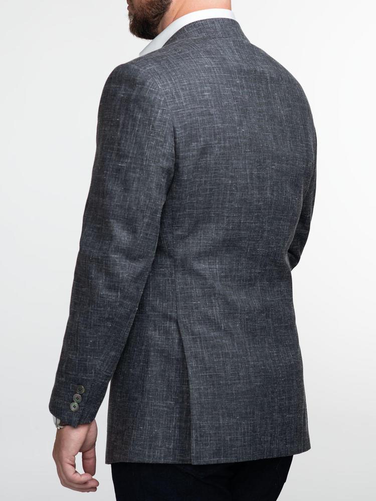 Veston Veston gris foncé en mélange de laine, lin et soie