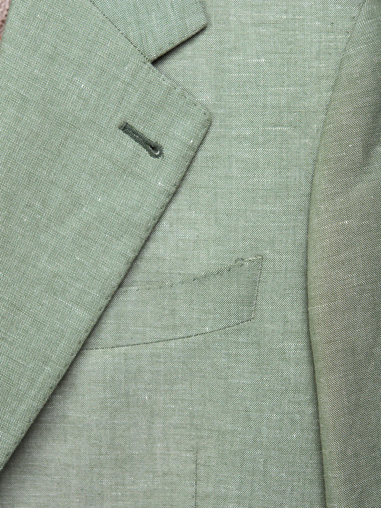 Jacket Green Linen-Cotton Blend Sports Jacket