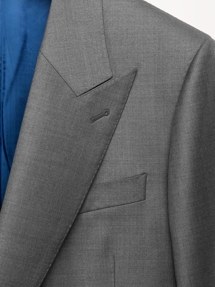 Complet Complet gris foncé en laine peignée à double boutonnage