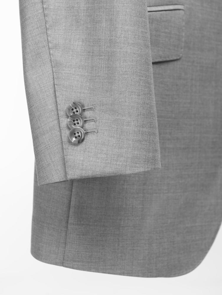 Suit Light Grey Sharkskin Worsted Wool Suit