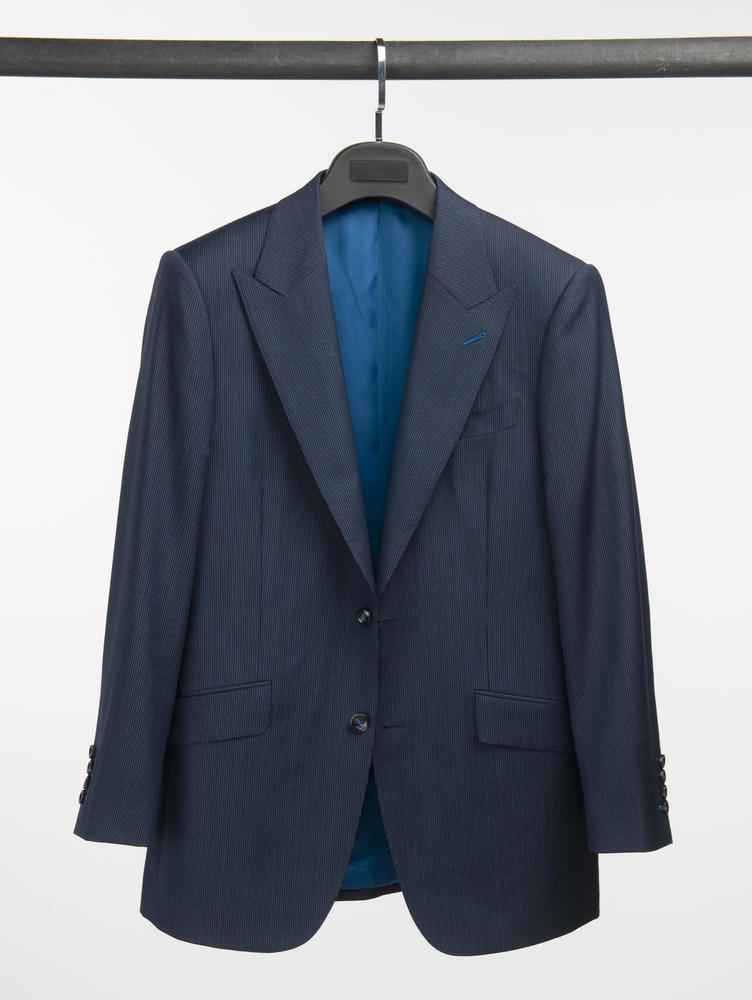 COMPLET Complet bleu foncé à fines rayures en laine