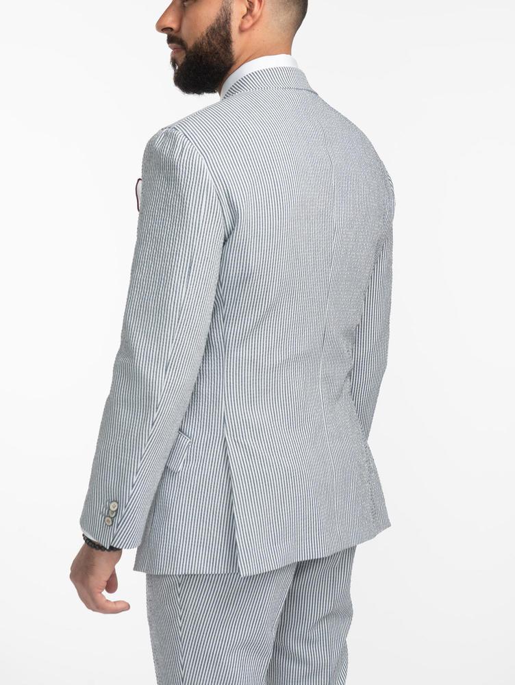 COMPLET Complet seersucker à rayures bleues et blanches