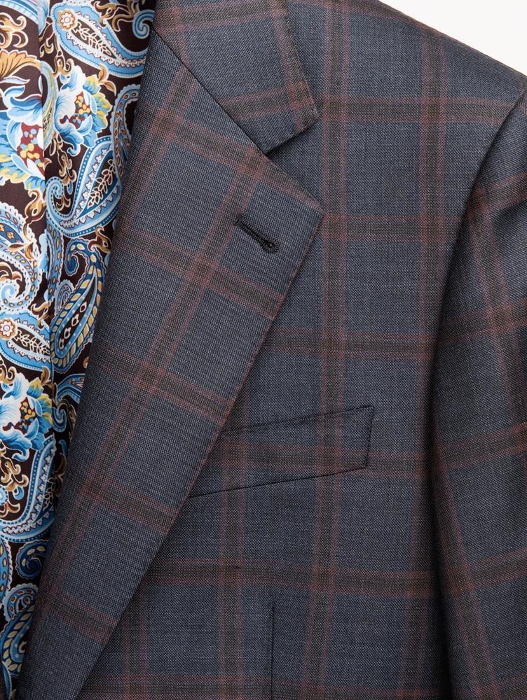 Jacket Anthracite Blue Windowpane Worsted Wool Jacket
