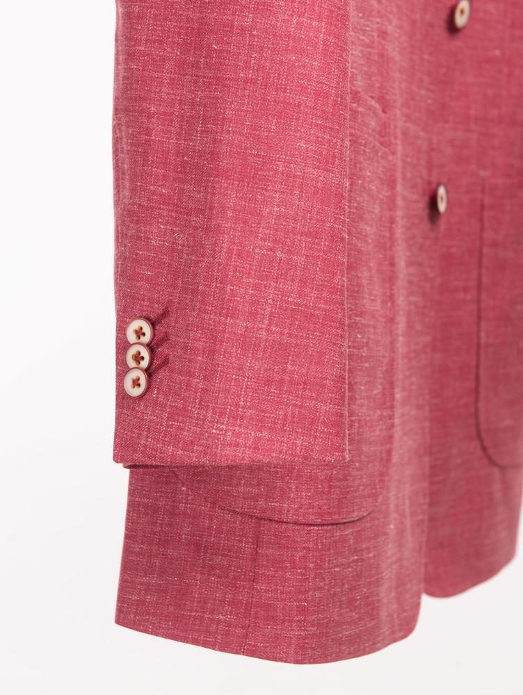 VESTON Veston rouge fraise en laine, soie et lin