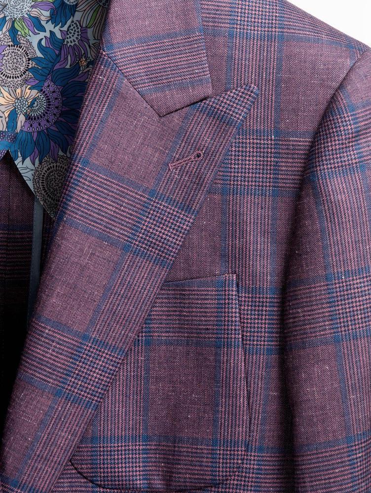 JACKET Light Purple Glen Plaid Wool/Silk/Linen Blend Jacket