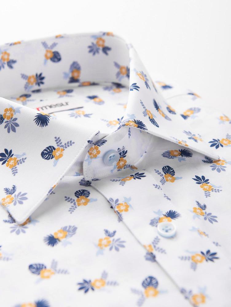 DRESS SHIRT Short Sleeve Summer Shirt w/ Floral Pattern