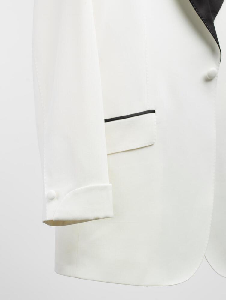 VESTON Veston tuxedo crème en laine avec revers en satin noir