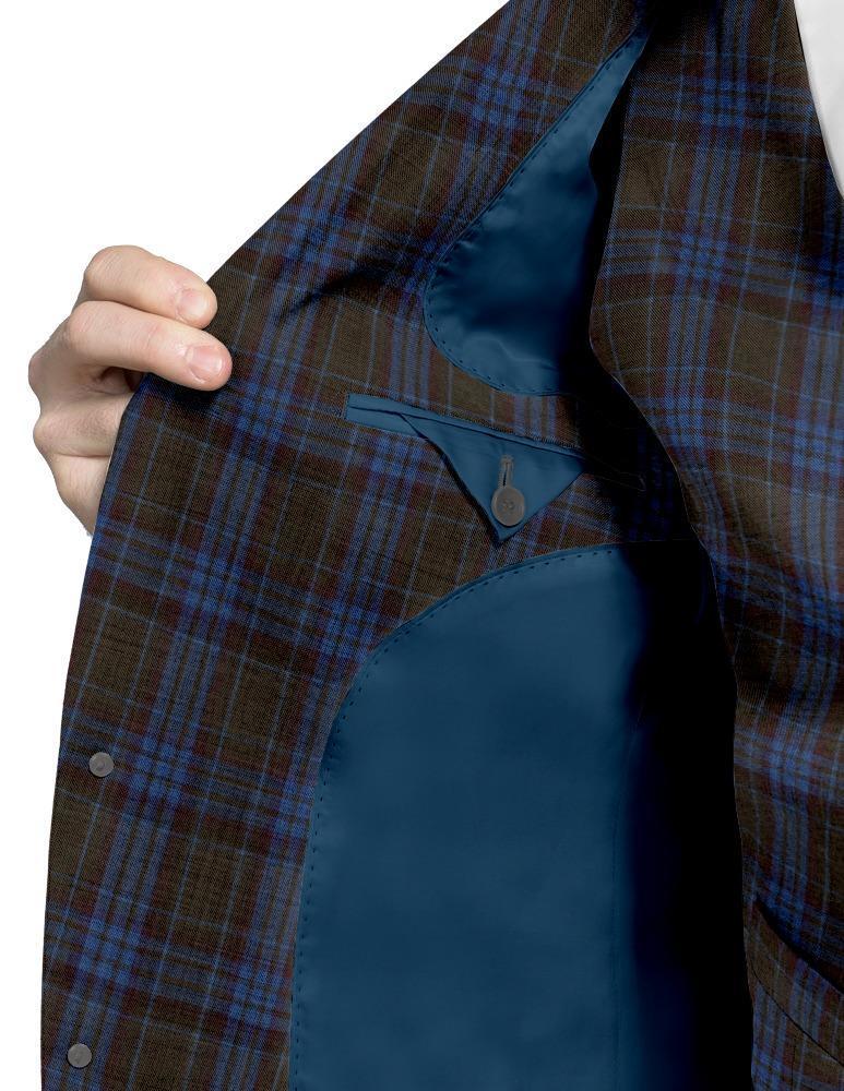 Gilet Gilet à carreaux brun et bleu