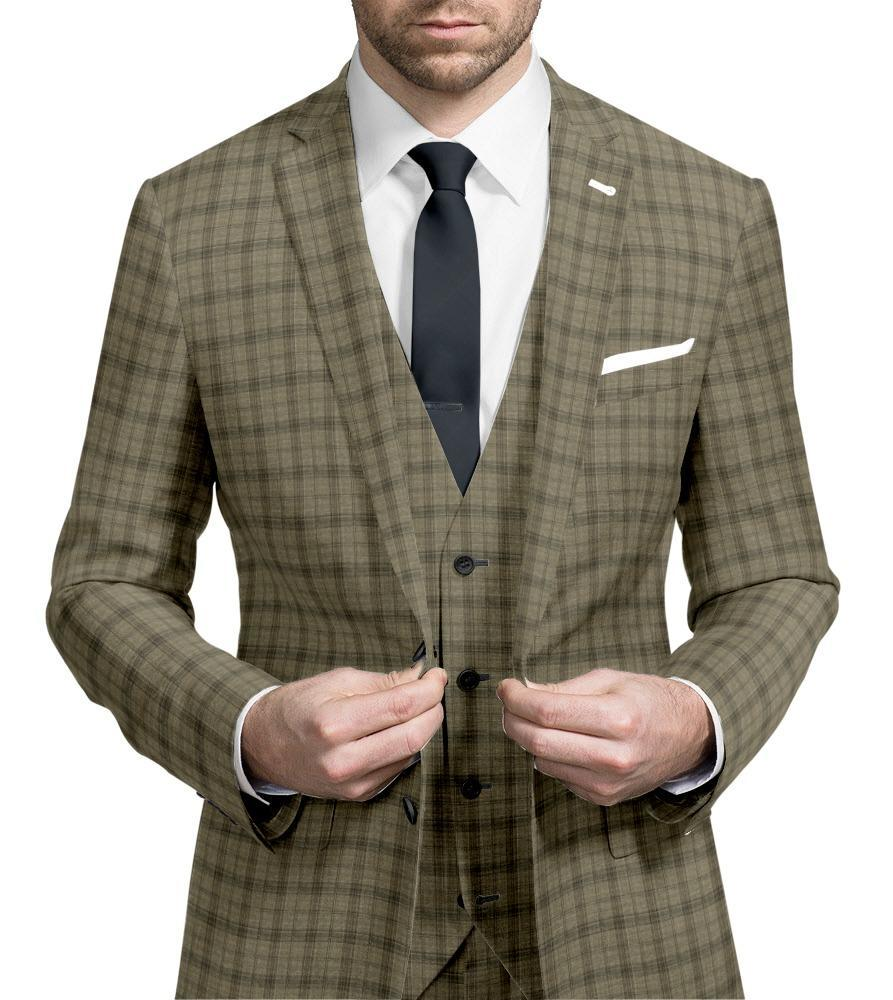 Suit Light Brown Plaid - Guabello 130
