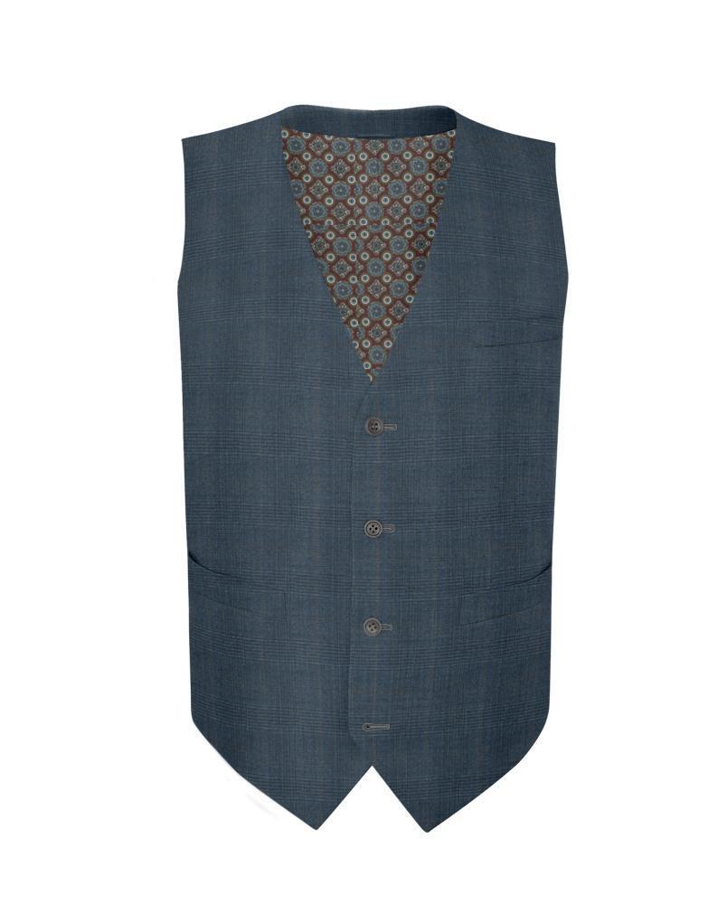 Waistcoat Blue Glen w/ Brown Overcheck - Guabello 130