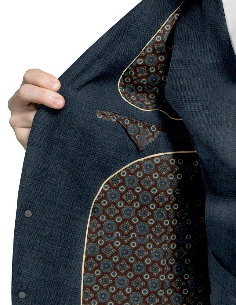 Waistcoat Blue and Brown Glen Overcheck Waistcoat